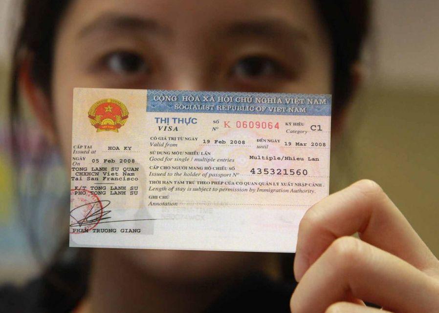 Girl having the Vietnam Visa