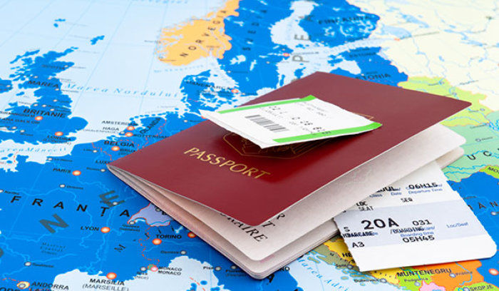 Passport placed on the map