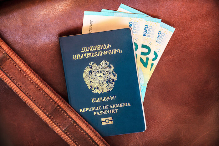 Armenian citizen passport and currency
