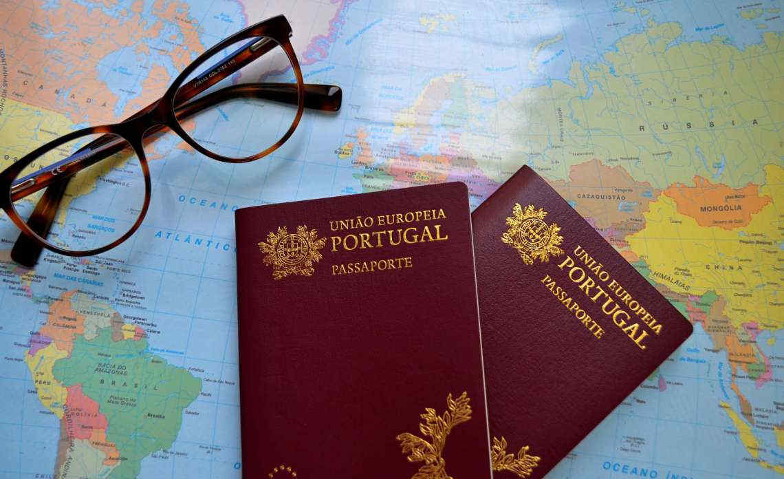 Portugal passport placed on the map