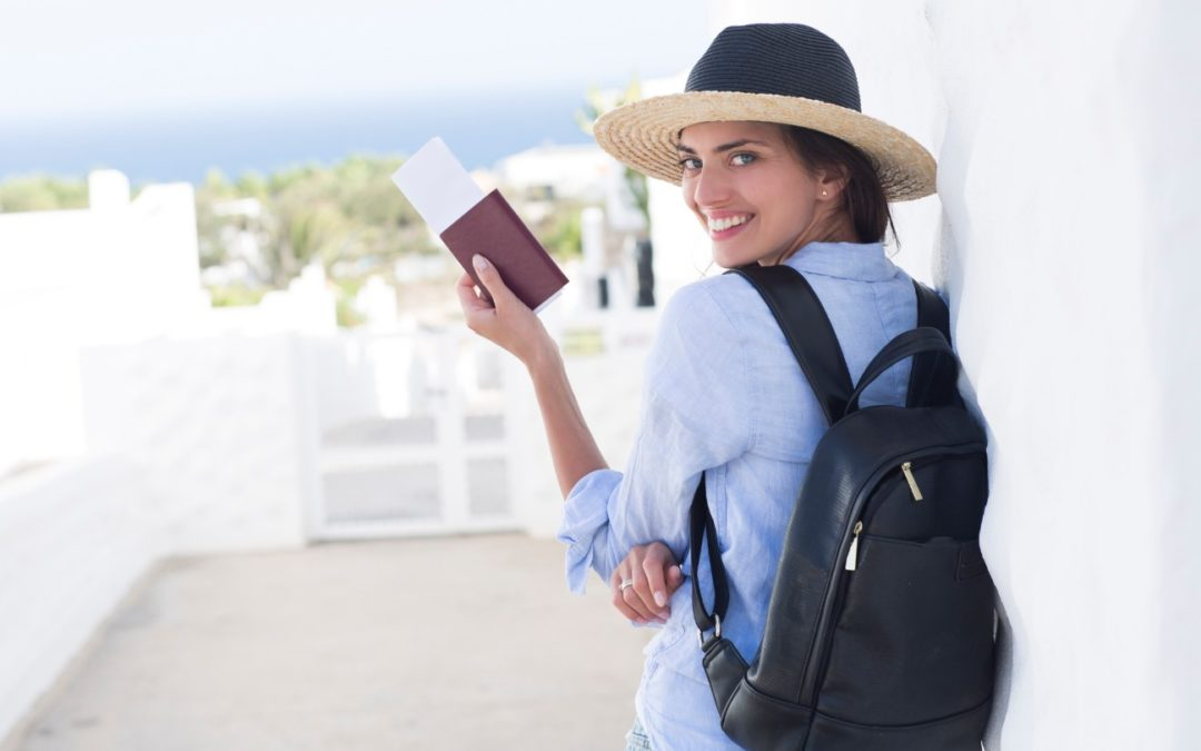 Smiling Women with Passport