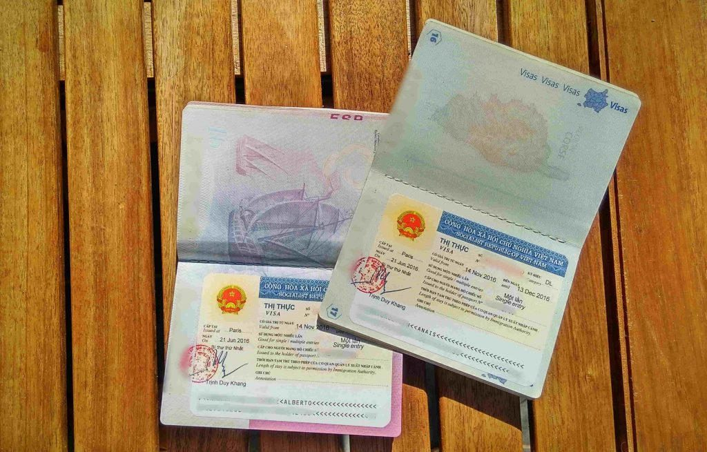 Two vietnam Visa on the table