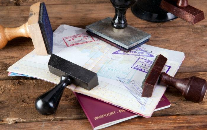 Visa Stamp placed on the Passport