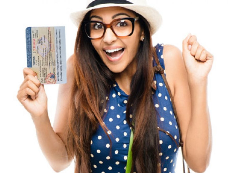 Charming Women having the Vietnam Visa in hand